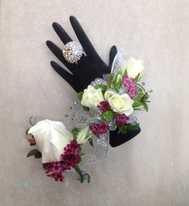 White and Purple Shimmer Boutonniere  in Blaine, WA | BLAINE BOUQUETS