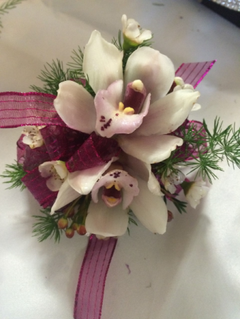 White and Purple Orchid Corsage