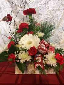 White and Red fresh flower arrangement