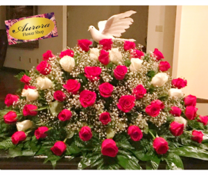 White and Red Casket Spray Casket Spray in Pharr, TX | Aurora Flower Shop