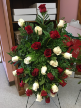 White and red remembrance Standing spray