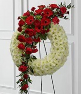 White and Red Sympathy Wreath