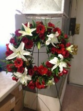 White and Red Wreath  Standing Spray