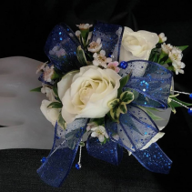 White and Royal Blue Corsage Corsage