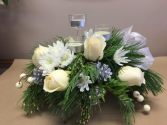 White and silver table arrangement  Christmas