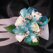 White and Teal Corsage Corsage