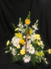 White and Yellow  Basket Arrangement