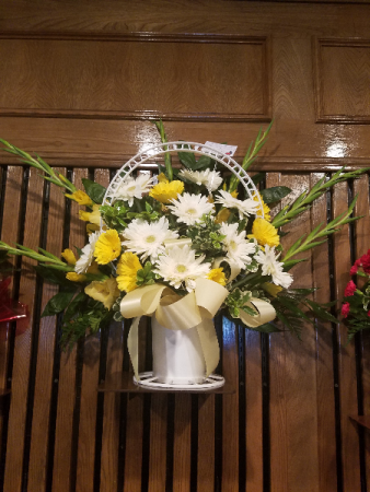 White and yellow basket Just because