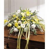 White and Yellow Tribute Funeral  Casket Spray
