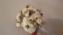 White Assortment W/Thistles & Succulents  Hand Tied Bridal