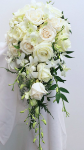 White Beauty Cascade Bridal Bouquet