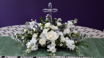 White  beauty Centerpiece with Cross sympathy table arrangement