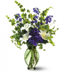 White, Blue And Grand Green  Flower Arrangement