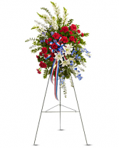White, Blue And Red Spray Standing Spray