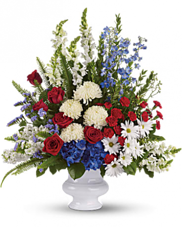 White, Blue And Red Urn Funeral Flowers