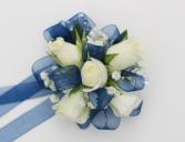 White & Blue Corsage