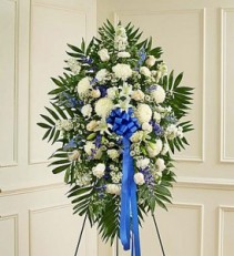 91287M White & Blue Sympathy Standing Spray