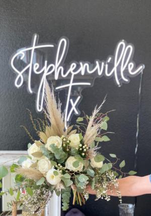 White Boho  Wedding Bouquet in Stephenville, TX | University Flowers & More