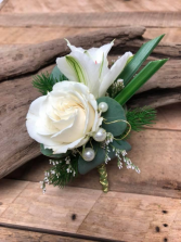 White Pearls Boutonniere
