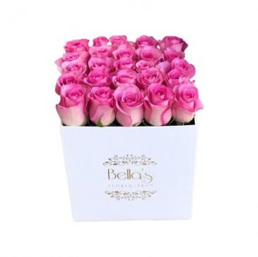 White  Square Hat Box 25 Pink Roses