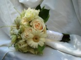 white bridal bouquet with gerbers daisies wedding