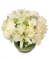 White Bubble Bowl Vase of Flowers