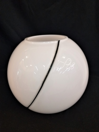 White  Bubble Bowl with Black Swirl
