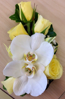 White Butterfly Orchid & Rose Corsage Corsage