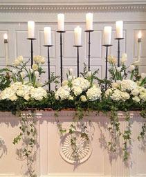 White Candle Garden Altar Arrangement