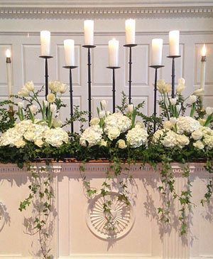 White Candle Garden Altar Arrangement in Hillsboro, OR | FLOWERS BY BURKHARDT'S