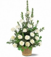 White Carnation Basket Funeral Basket