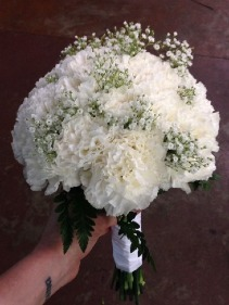 White Carnation Handtied Bouquet