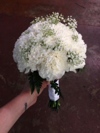 White Carnation Handtied Bouquet