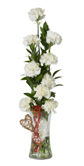 White Carnation Tower Vase Arrangement