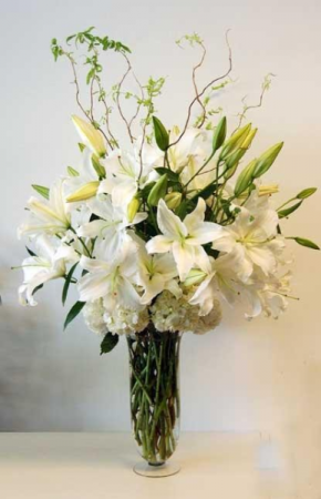 White Casablanca Sympathy Arrangement in Croton On Hudson, NY | Cooke's Little Shoppe Of Flowers