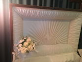 white casket heart  sympathy for the service