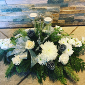 White centerpiece with two candles