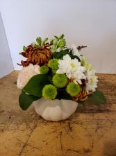 White ceramic Pumpkin Arrangement
