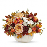 WHITE CERAMIC PUMPKIN Ceramic Container