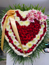 White chrysanthemums and red roses heart Always in my heart