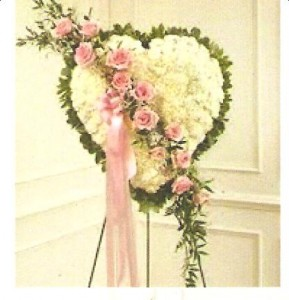 White Cornations &Pink Roses Standing Spray