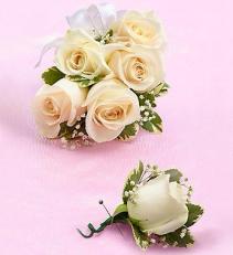 White Rose Corsage & Boutonniere