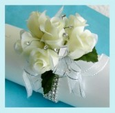 WHITE CORSAGE FANCY WHITE WRISTLET CORSAGE in Elyria, OH | PUFFER'S FLORAL SHOPPE, INC.