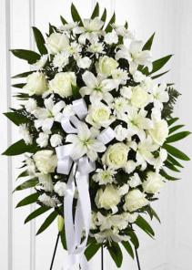 White & Cream Standing Spray Funeral Flowers