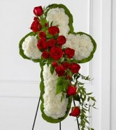 White Cross Design with Red Roses