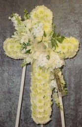 white cross funeral flowers