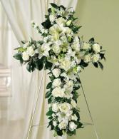 White Cross Funeral Spray