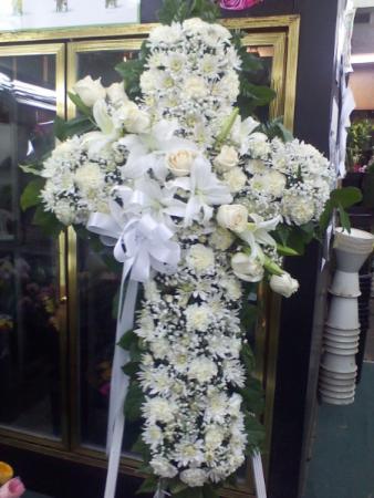 white cross standing cross