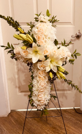 white Cross Sympathy Arrangement