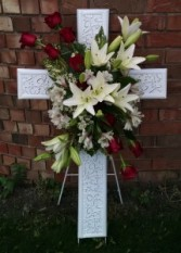 White Cross with Roses and Lilies - AWF7B